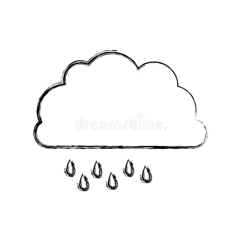 Monochrom unscharfe Kontur der Wolke mit Nieselregen vektor abbildung