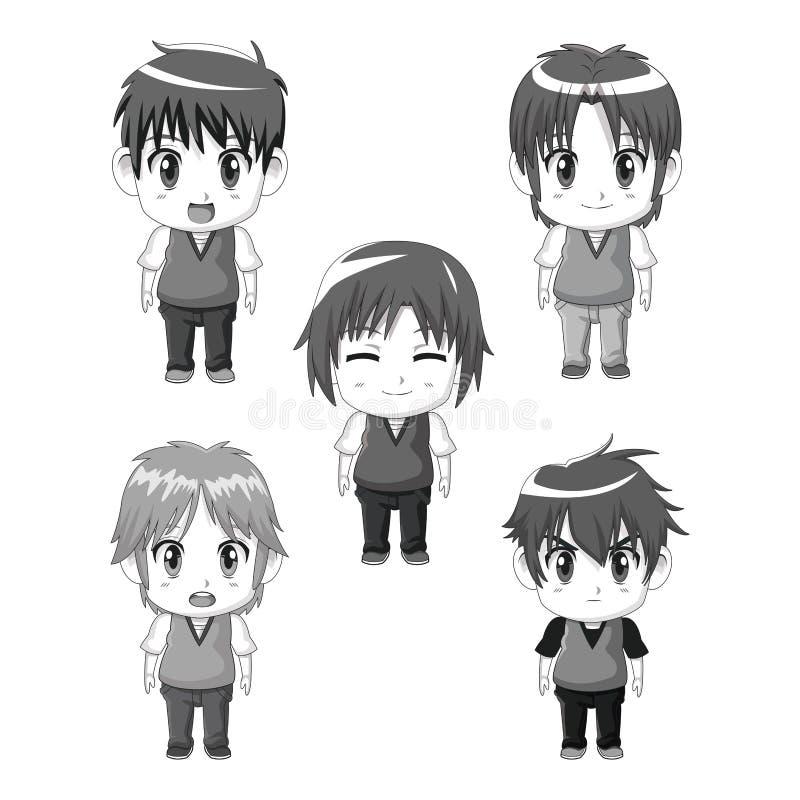 Monochrom ustalona sylwetka folował ciała anime tennagers ślicznych wyrazy twarzy ilustracja wektor