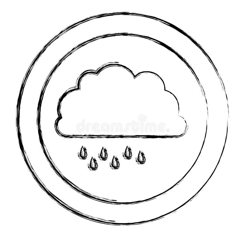 Monochrom verwischte Kreisrahmen mit Wolke mit Nieselregen stock abbildung