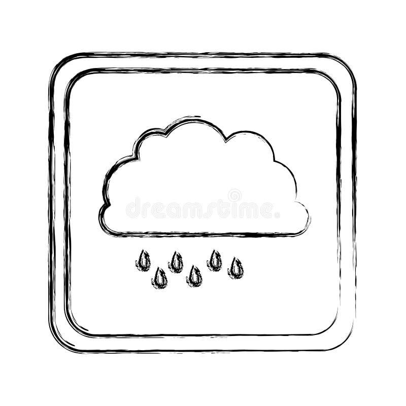Monochrom verwischte quadratischen Rahmen mit Wolke mit Nieselregen vektor abbildung