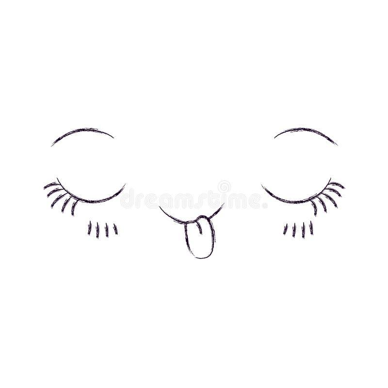 Monochrom zamazująca sylwetka wyrazu twarzy kawaii flirt ilustracja wektor