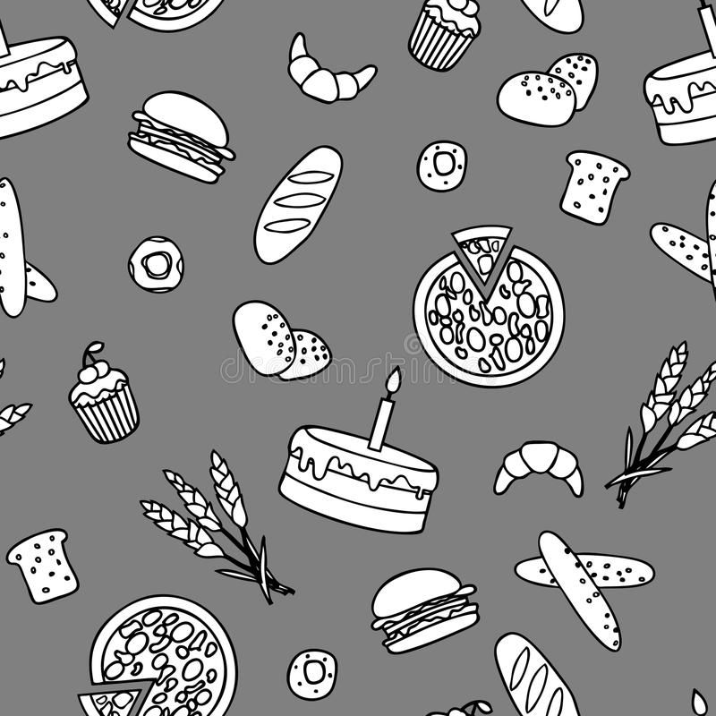 Download Monochromatic Bakery Seamless Pattern Stock Vector - Image: 26774750
