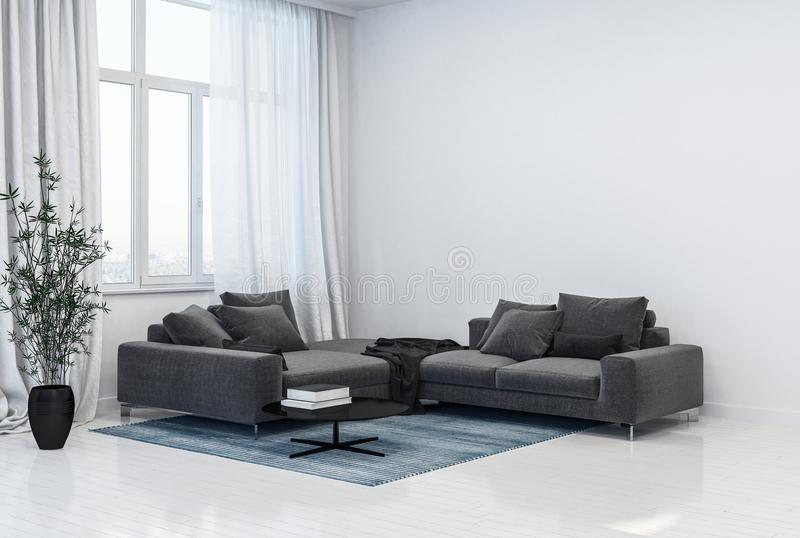 Monochromatic grey and white living room interior royalty free illustration