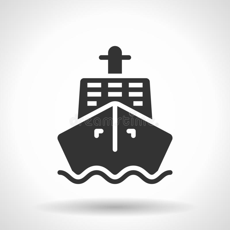 Monochromatic ship icon with hovering effect shadow royalty free illustration