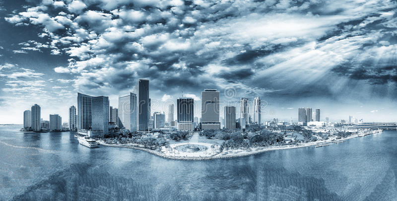 Monochromatic view of Miami from the sky. City skyline, Florida royalty free stock photo