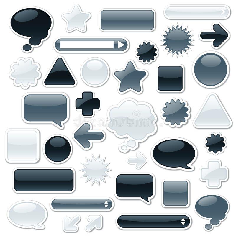 Monochromatic Web Elements stock illustration
