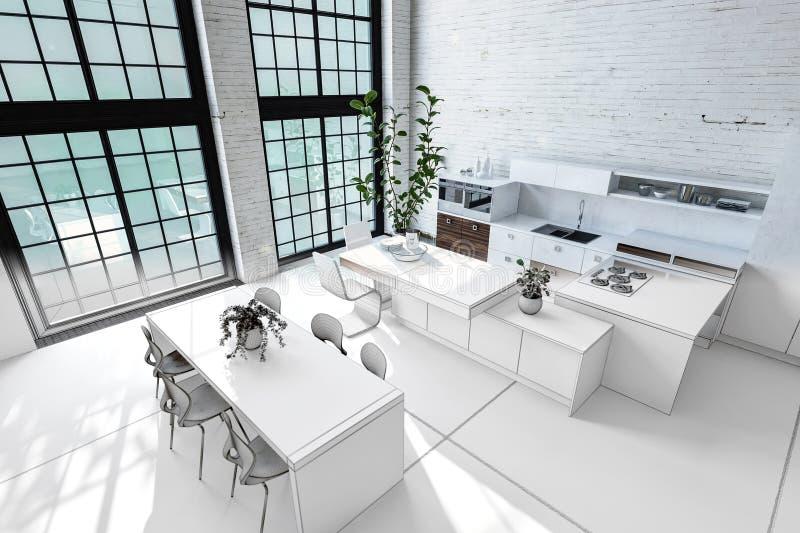 Monochromatic white loft conversion interior stock illustration