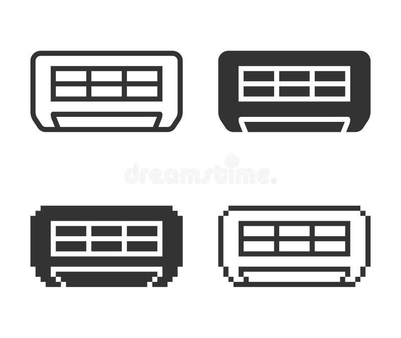 Monochromatisch airconditionerpictogram in verschillende varianten royalty-vrije illustratie