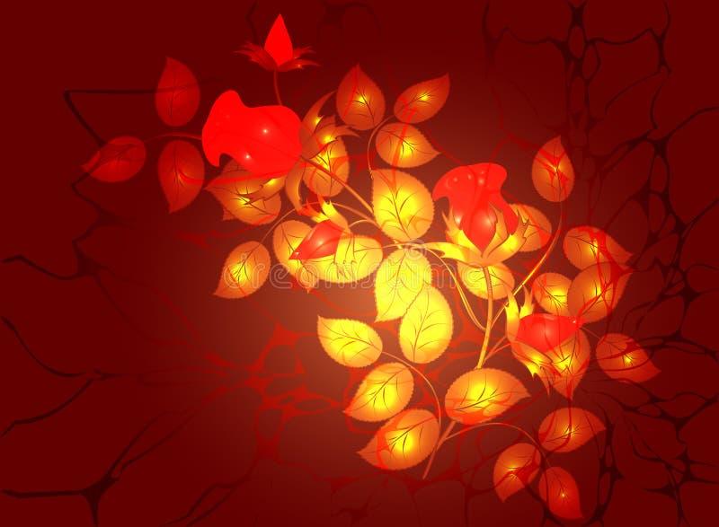 Monochromatische bloemenregeling in Gouden en vurige kleuren, vignet op donkerrode achtergrond Eps10 Vector vector illustratie