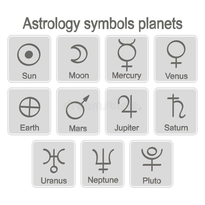 Monochromatyczna ikona ustawiająca z astrologia symboli/lów planetami royalty ilustracja