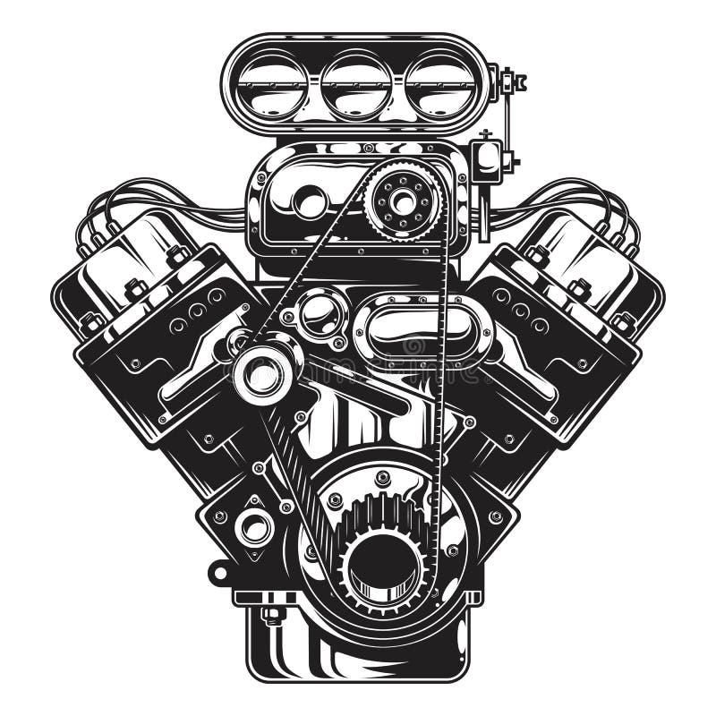 monochromatyczna ilustracja samochodowy silnik ilustracja wektor