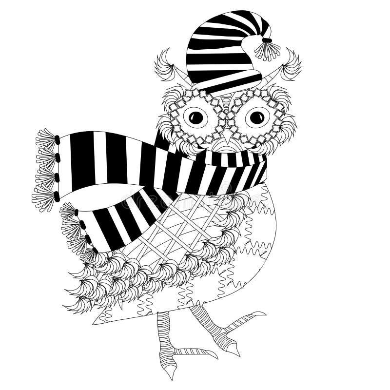 Monochromatyczna kreskówki sowa w pasiastym szaliku, kapelusz, dla barwić strona antego stres dla druku, ilustracja wektor