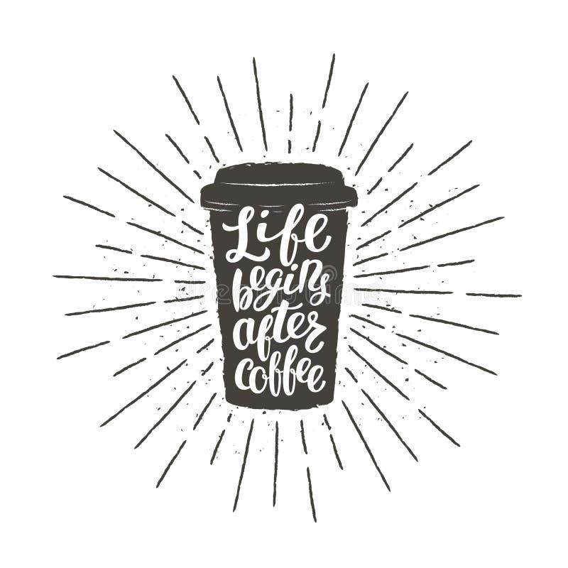 Monochromatyczna rocznik papierowej filiżanki sylwetka z literowaniem dla napoju, napój kawiarni i menu tematu lub, plakat, koszu royalty ilustracja
