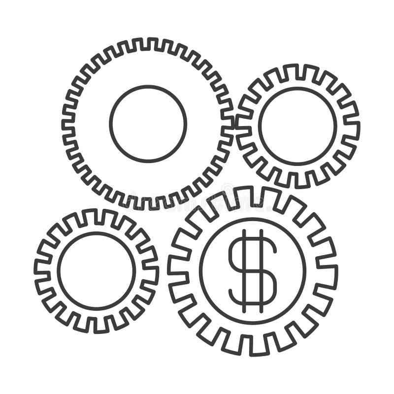 Monochromatyczna sylwetka rozwój gospodarczy grafika ilustracja wektor