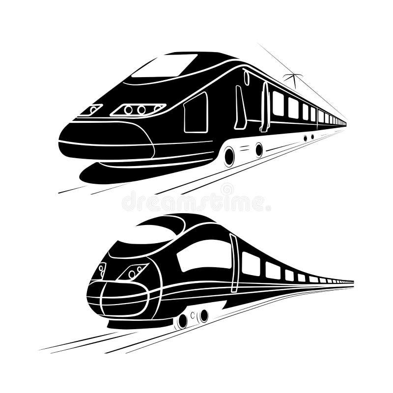 Monochromatyczna sylwetka szybkościowy pociąg pasażerski ilustracji