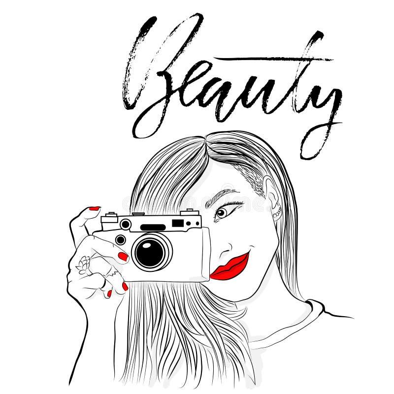 Monochromatyczna wektorowa ilustracja Piękna dziewczyna z czerwonymi wargami i gwoździami Uśmiechnięty fotograf z starą kamerą pi ilustracji