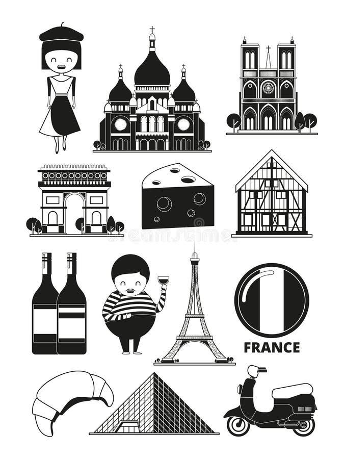 Monochromatyczne ilustracje francuscy punkty zwrotni Wektorowi obrazki w kreskówka stylu ilustracja wektor