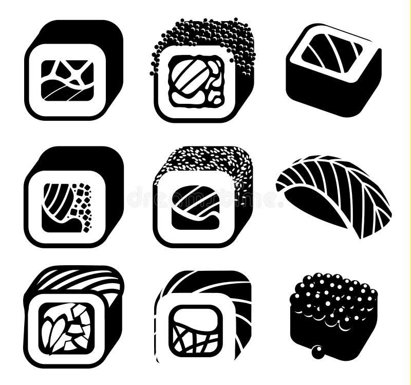 Monochromatyczne japońskie karmowego koloru kreskówki stylu projekta ikony ustawiać z różnym suszi i rolkami na białym tle ilustracja wektor