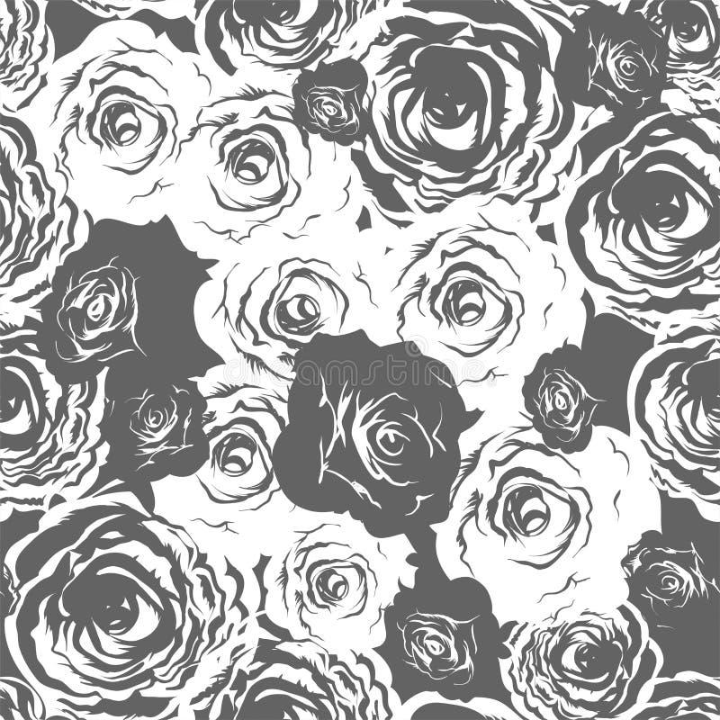 Monochromatyczne róże bezszwowe royalty ilustracja