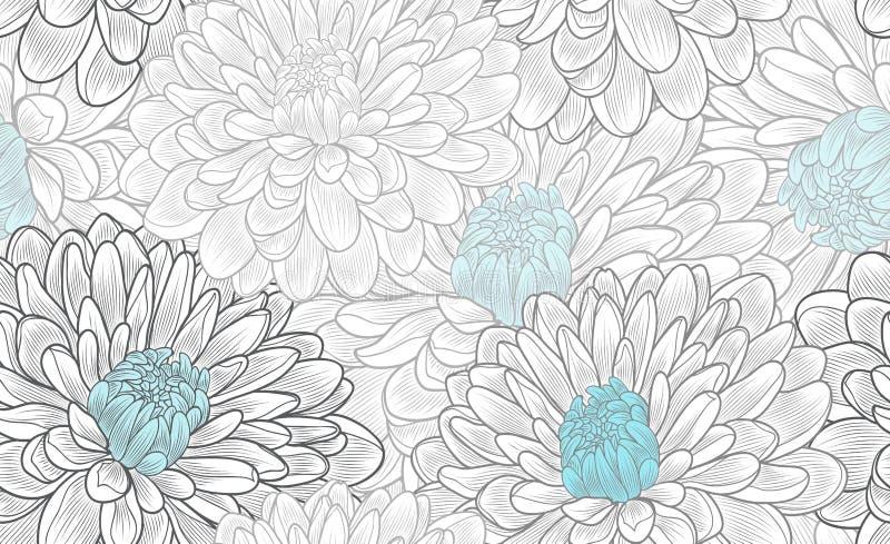 Monochromatycznego bezszwowego rysunku kwiecisty tło z kwiat chryzantemą ilustracja wektor
