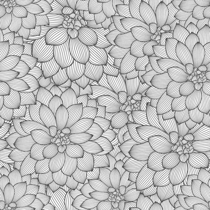 Monochromatycznego bezszwowego rysunku kwiecisty tło z kwiat daliami royalty ilustracja