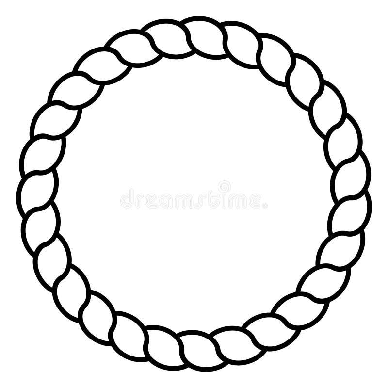 Monochromatycznego czarny i biały okręgu linowa ramowa kreskowa sztuka odizolowywał wektor royalty ilustracja