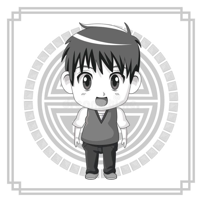 Monochromatycznego tła japoński symbol z sylwetki anime ślicznego teennager wyrażeniową niespodzianką ilustracji