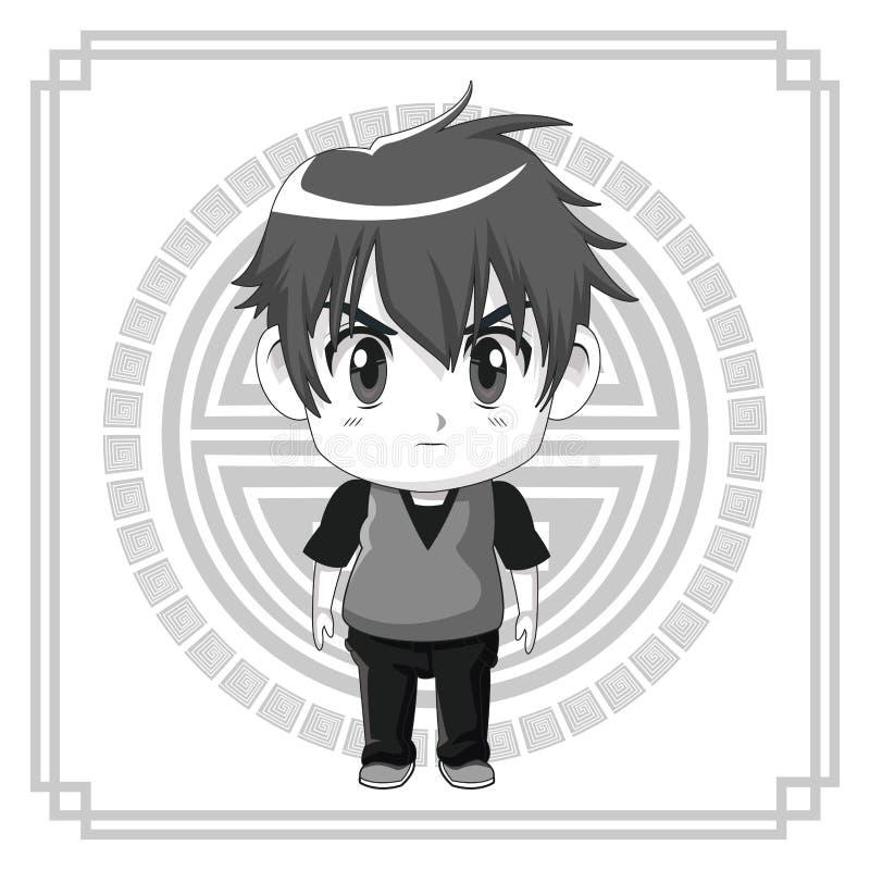 Monochromatycznego tła japoński symbol z sylwetki anime tennager ślicznym wyrazem twarzy gniewnym royalty ilustracja