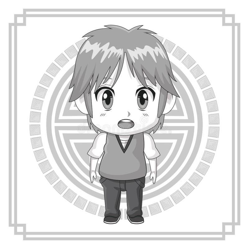 Monochromatycznego tła japoński symbol z sylwetki anime tennager ślicznym wyrazem twarzy oszołamiającym ilustracja wektor