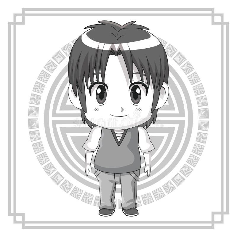 Monochromatycznego tła japoński symbol z sylwetki anime tennager wyrażenia ślicznym szczęściem royalty ilustracja