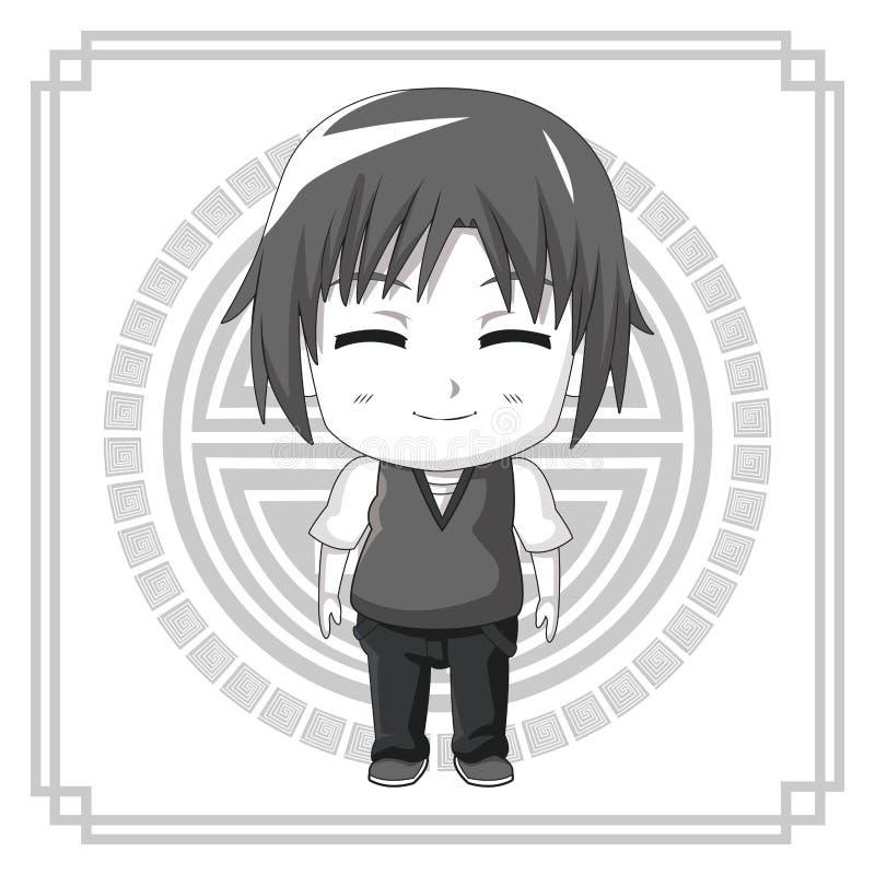 Monochromatycznego tła japoński symbol z sylwetki anime tennager wyrazu twarzy ślicznym uśmiechem z oczami zamykającymi ilustracji