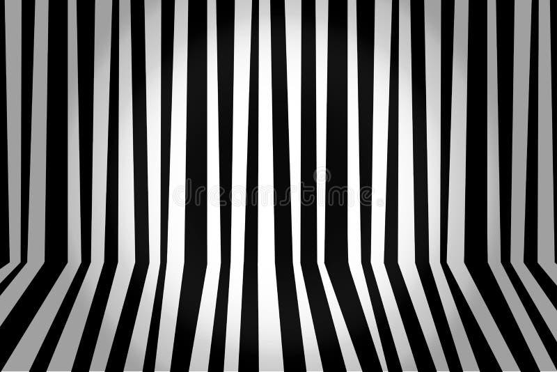 Monochromatycznego tła pasiasty pokój w czarny i biały Wektor il royalty ilustracja
