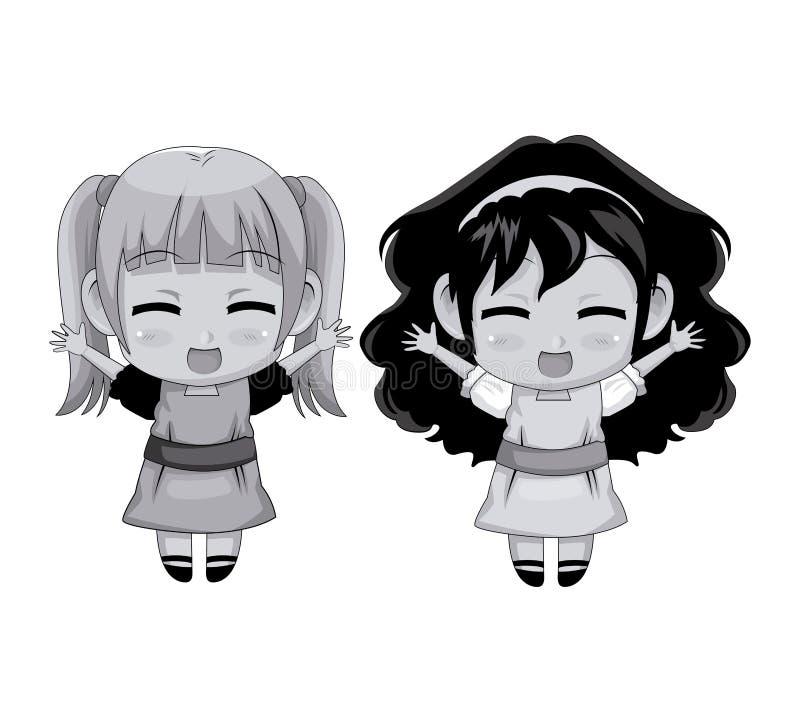 Monochromatycznej pełnej ciało pary anime dziewczyny wyrazu twarzy śliczny uśmiech i skok ilustracji