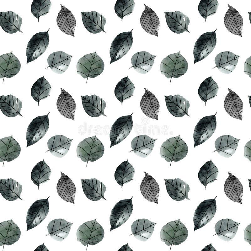 Monochromatyczni akwarela liście ilustracja wektor