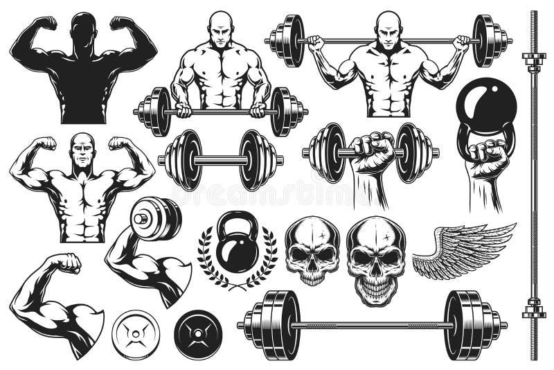 Monochromatyczni elementy dla bodybuilding ilustracji