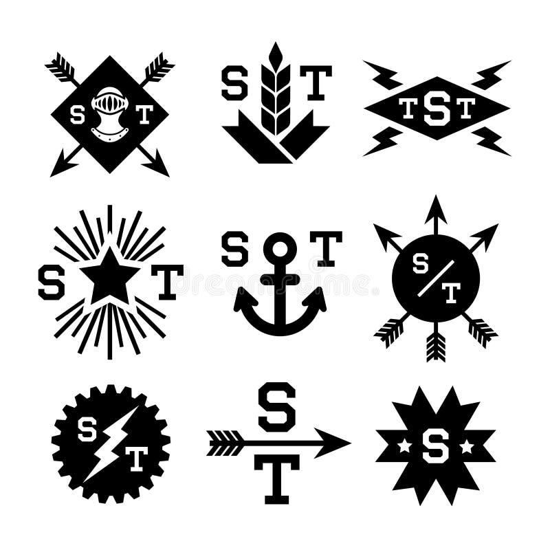 Monochromatyczni emblematy ilustracji