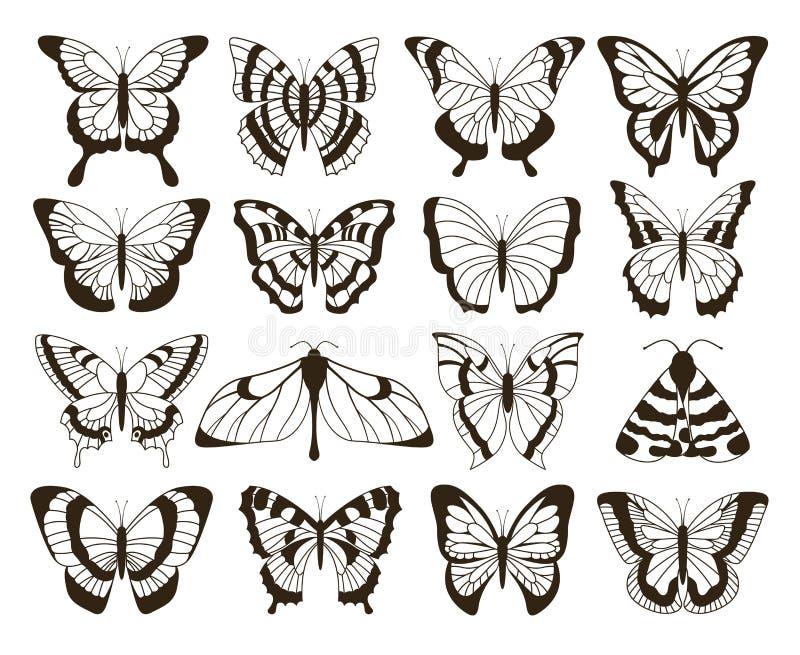 Monochromatyczni motyle Czarny i biały rysunek, ręka rysujący tatuaż kształtuje rocznik kolekcję Wektorowy motyl odizolowywający royalty ilustracja