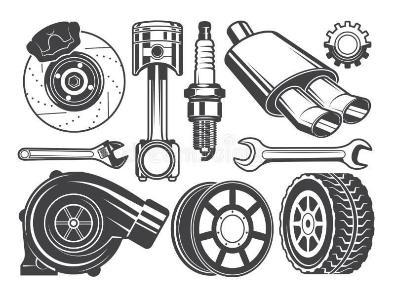 Monochromatyczni obrazki silnik, turbocharger butla i inni samochodów narzędzia, royalty ilustracja