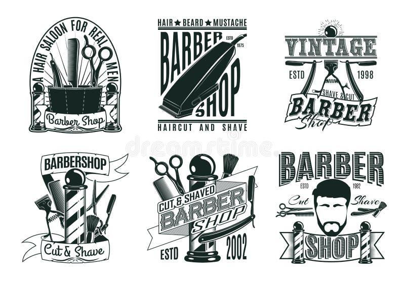 Monochromatyczni rocznika fryzjera męskiego sklepu logowie Ustawiający royalty ilustracja