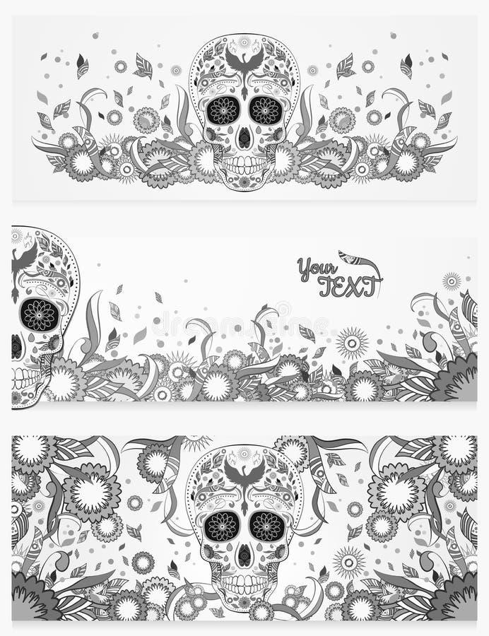 Monochromatyczni sztandary Dia De Muertos cukrowa czaszka z ozdobnym na abstrakcjonistycznej kwiecistej wiośnie zdjęcie royalty free