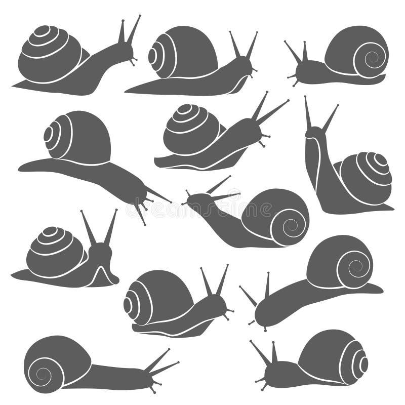 Monochromatyczny ślimaczek ikony set ilustracja wektor