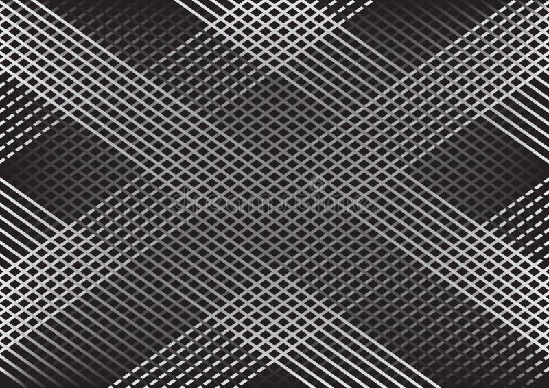 Monochromatyczny abstrakcjonistyczny geometryczny tło z liniami, w kratkę wzór wektor ilustracja wektor