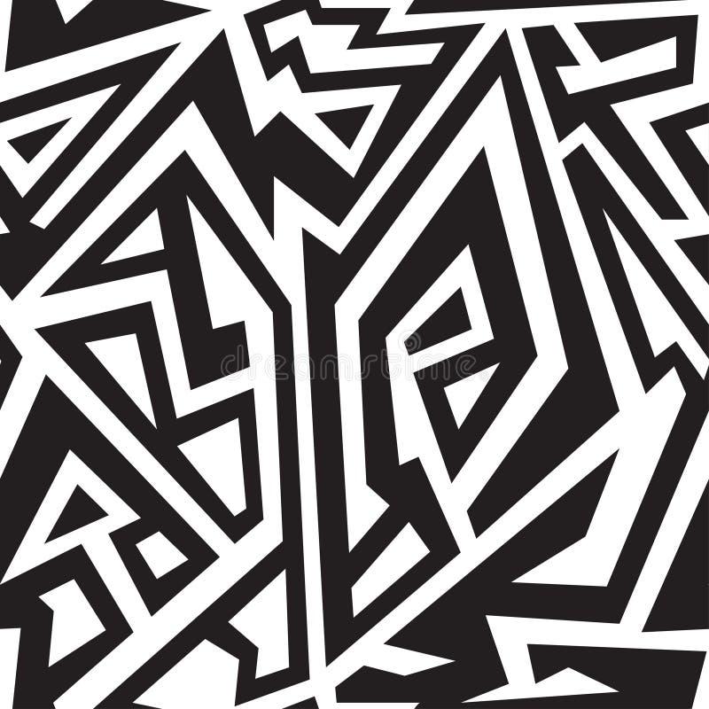 Monochromatyczny afrykański geometryczny bezszwowy wzór royalty ilustracja