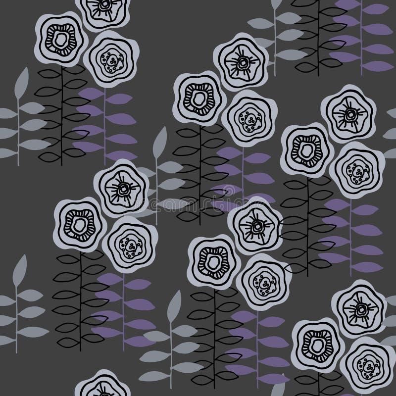 Monochromatyczny bezszwowy wzór z abstraktem kwitnie dla papieru, tekstylnego druku i sieć projektów, By? mo?e royalty ilustracja