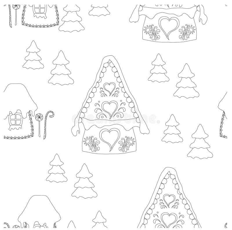 Monochromatyczny bezszwowy wzór z bajecznie boże narodzenie domami, choinka romantyczna, śliczny, ilustracja wektor