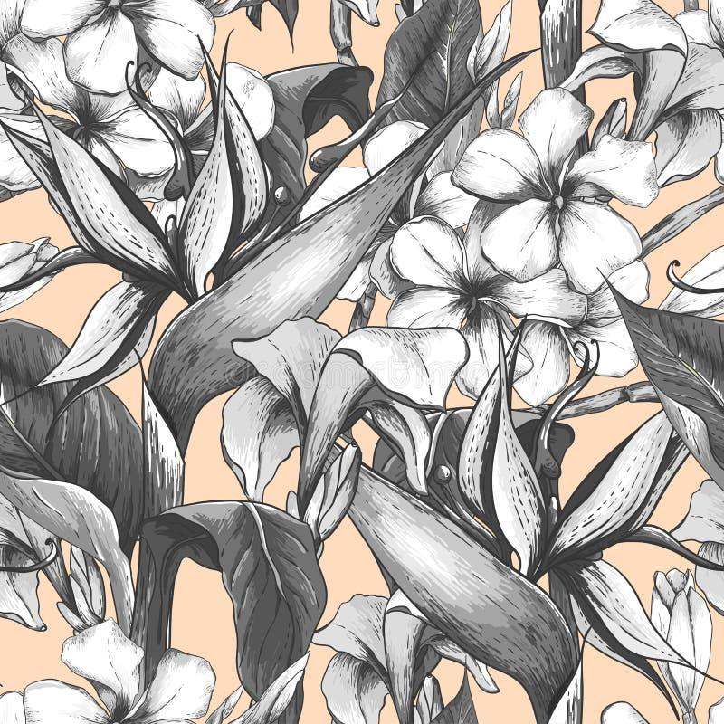 Monochromatyczny bezszwowy wzór z egzotycznymi kwiatami royalty ilustracja