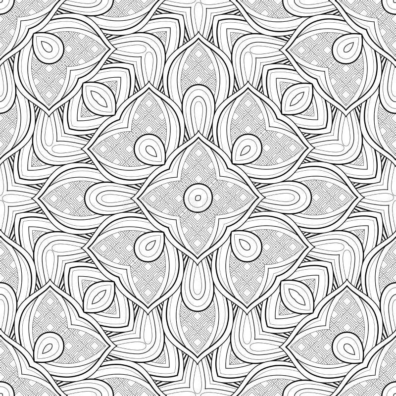 Monochromatyczny Bezszwowy wzór z Etnicznymi motywami ilustracja wektor