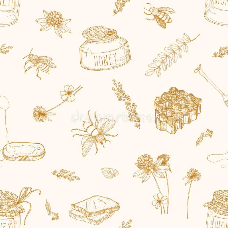 Monochromatyczny bezszwowy wzór z miodem, pszczołami, chochlą, chlebem, honeycomb, koniczyną, lipowym, i akacja zasadza patroszon royalty ilustracja