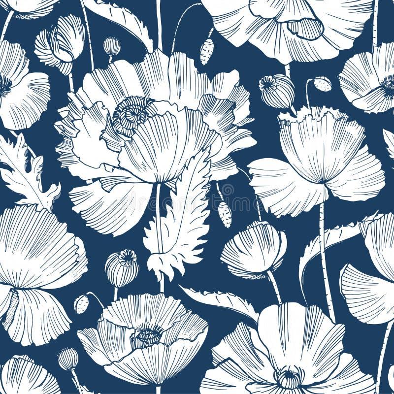 Monochromatyczny bezszwowy wzór z wspaniałymi kwitnącymi dzikimi maczków kwiatami, liście i ziarno głowy, wręczamy patroszonego z ilustracja wektor