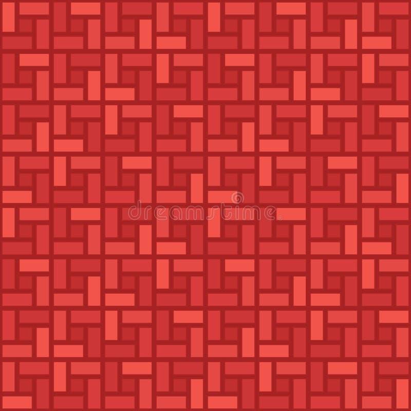 Monochromatyczny czerwony cegły spirali płytki clockwise bezszwowy wzór royalty ilustracja